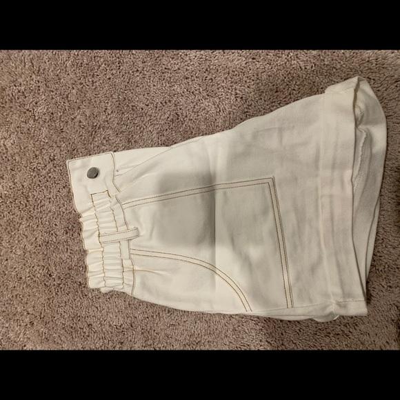 White Paper bag shorts